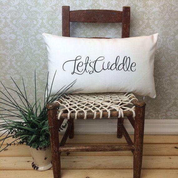 Lets Cuddle Pillow, Romantic Pillow Cover, Oblong Pillow, Valentine Gift, Cuddle Pillow, Lumbar Pillow, Spouse Gift