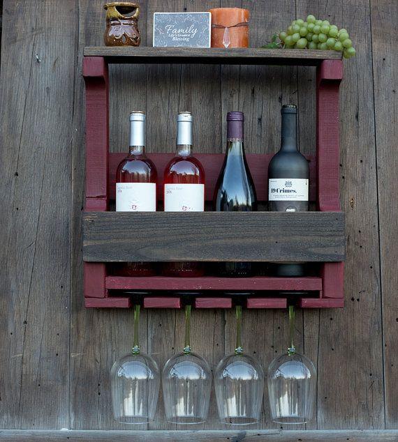 4 Bottle Two Tone Pallet Wine Rack / Wine Rack by GreenmanRustics