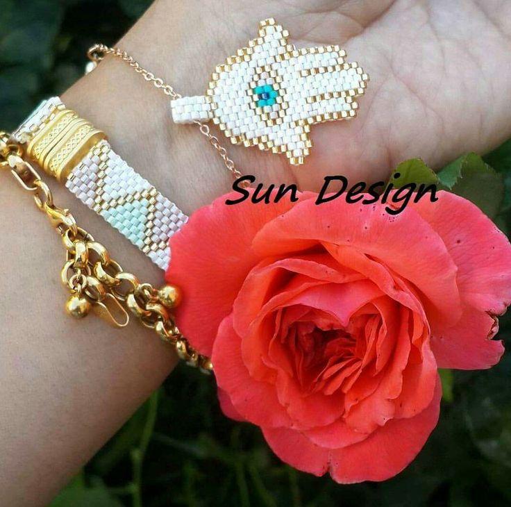 Miyuki bileklik #bracelets #miyuki #beads #hamsa #fatmanıneli #fatmaana #peyote #jewellery #pattern
