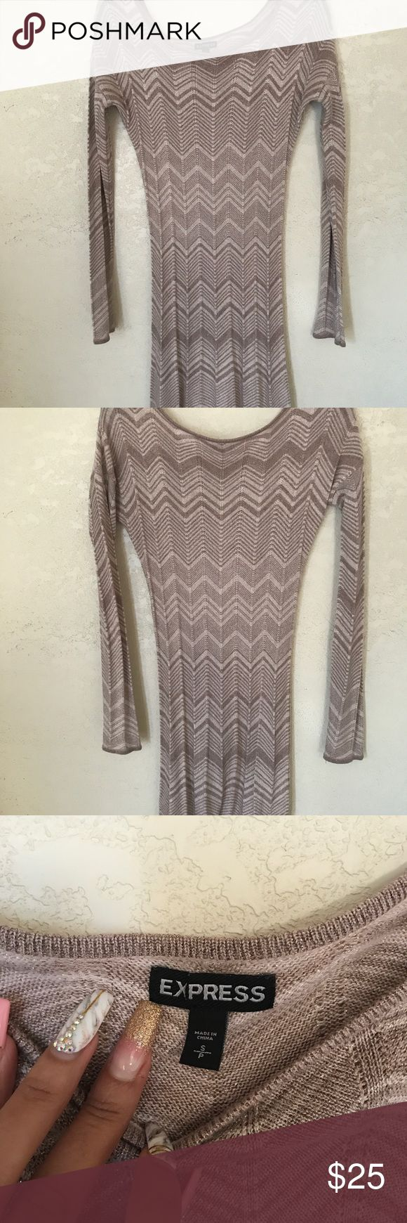 Express Metallic Bodycon Dress Worn twice Very good condition  Size Small Nude, silver, brown in color Express Dresses Long Sleeve