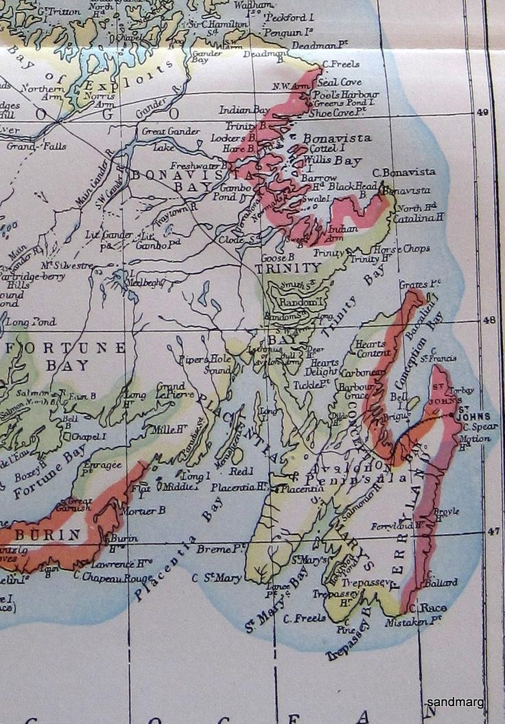 1897 Original Antique Map of Newfoundland 80