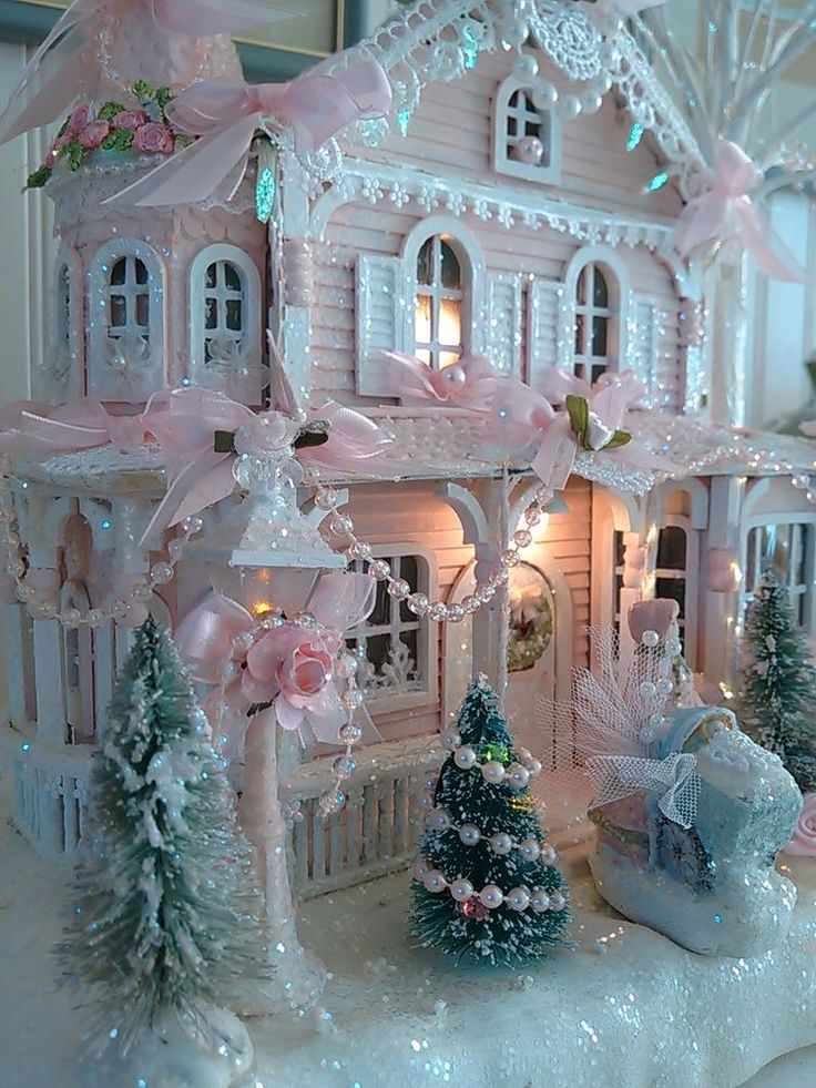 Shabby pink victorian christmas village house chic roses with figure OOAK lights