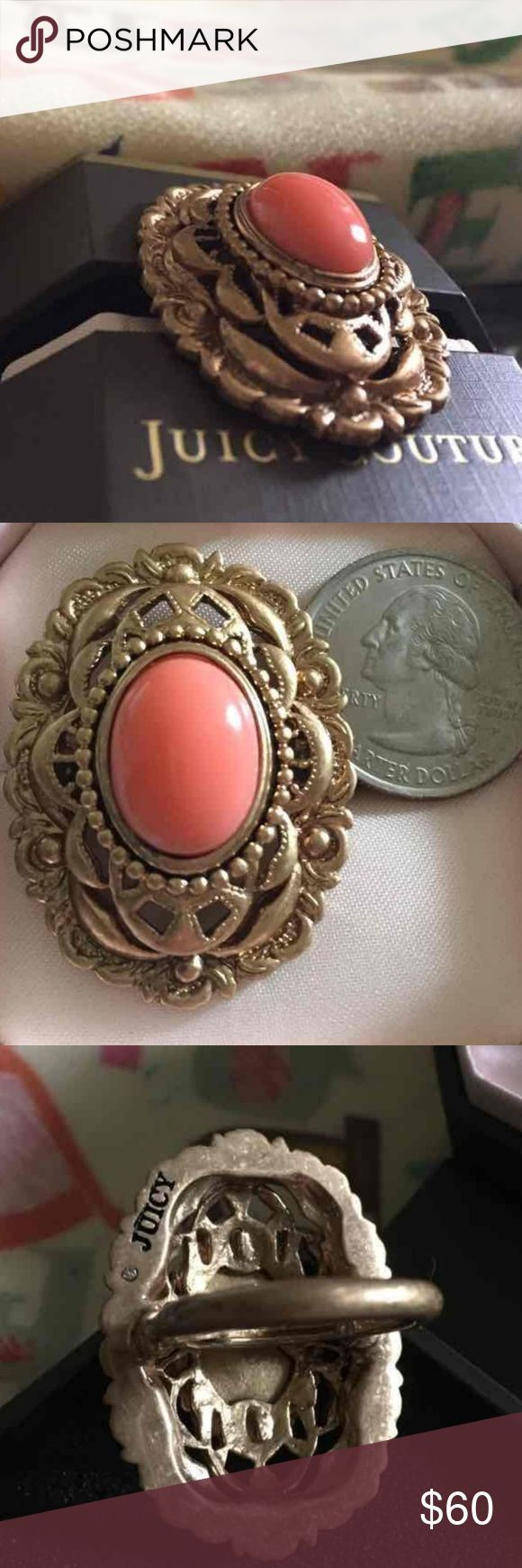 Juicy Couture Antique Gold Coral Ring For your consideration is a rare vintage Juicy Couture antique gold coral ring in excellent previously loved condition. The size is Juicy adjustable from approximately a size 7 to an 8.5. The coral is nice and glossy and the overall weight is substantial. Juicy box included for storage. Thank you. Juicy Couture Jewelry Rings
