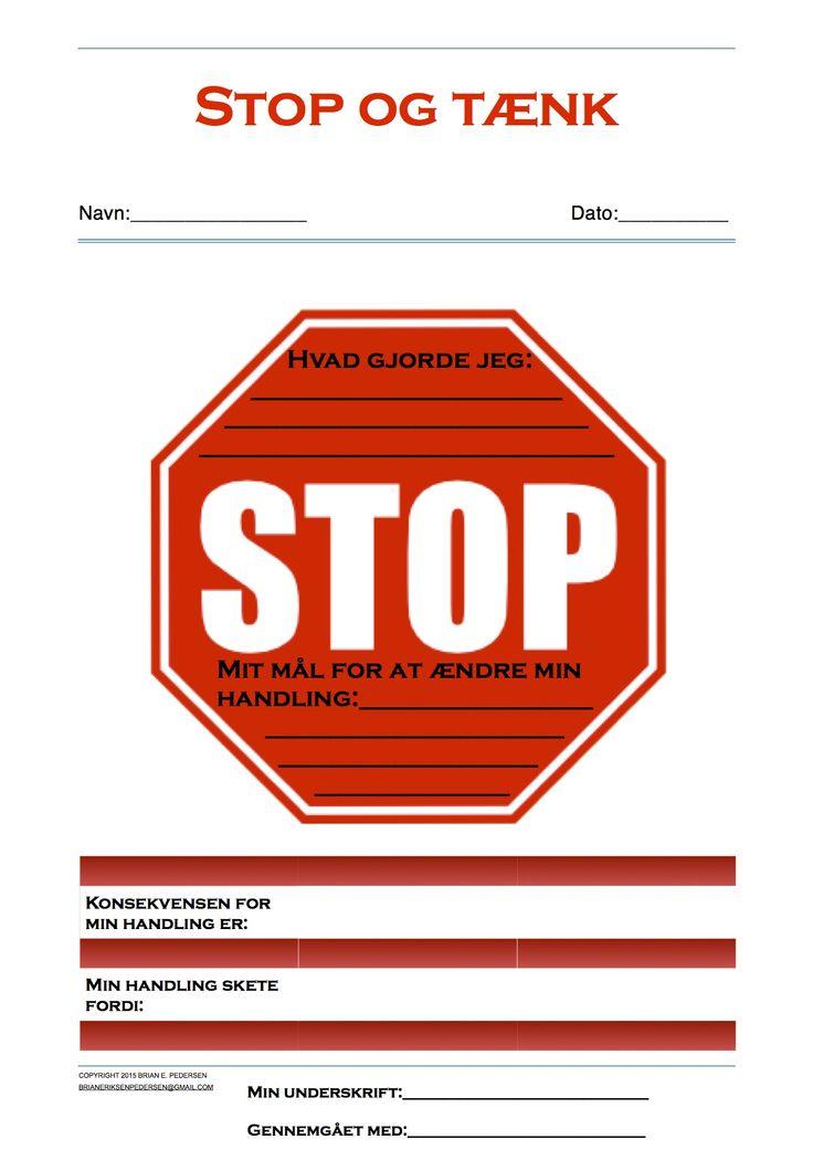 Stop og tænk - mål. Gennemgå det med barnet/eleven