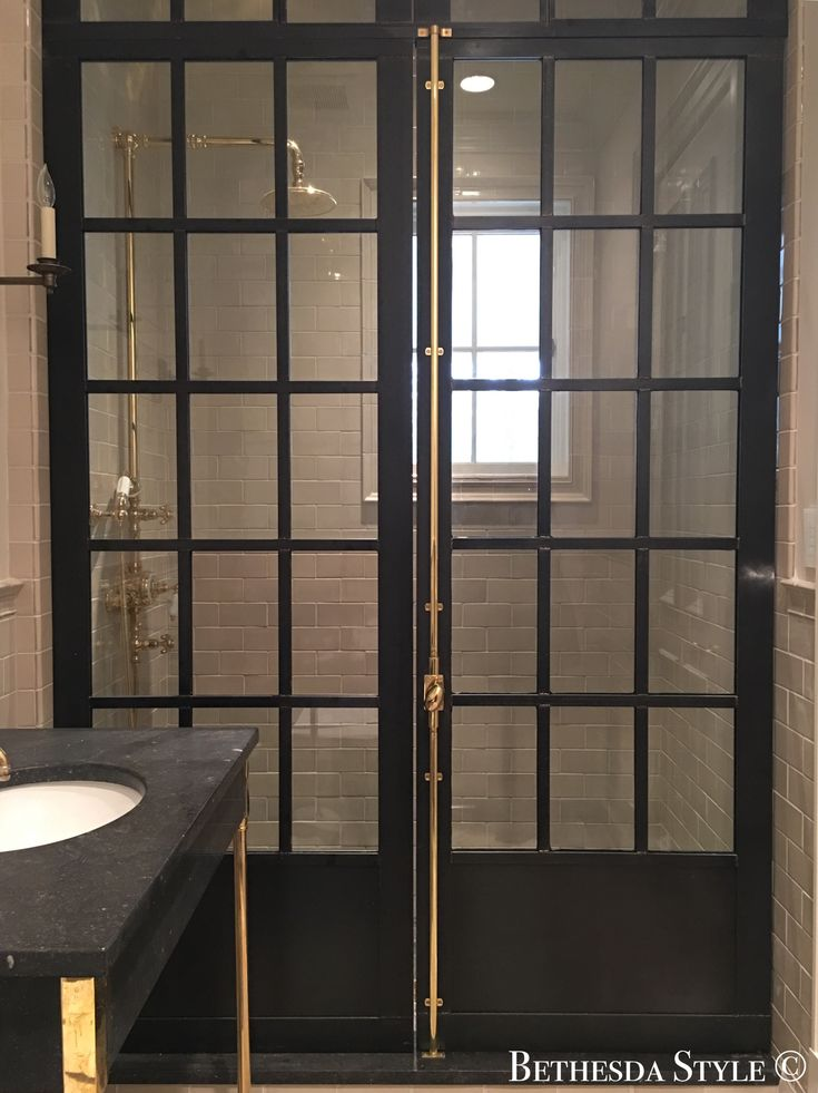 #BethesdaStyle ~ Steel Framed Mudroom Shower Doors ~ Samuel Yellin Inspired ~ by Custom Metals of Virginia ~ http://www.custommetalsofvirginia.com/ ~ Unlacquered Cremone Bolt ~ by Baldwin Hardware