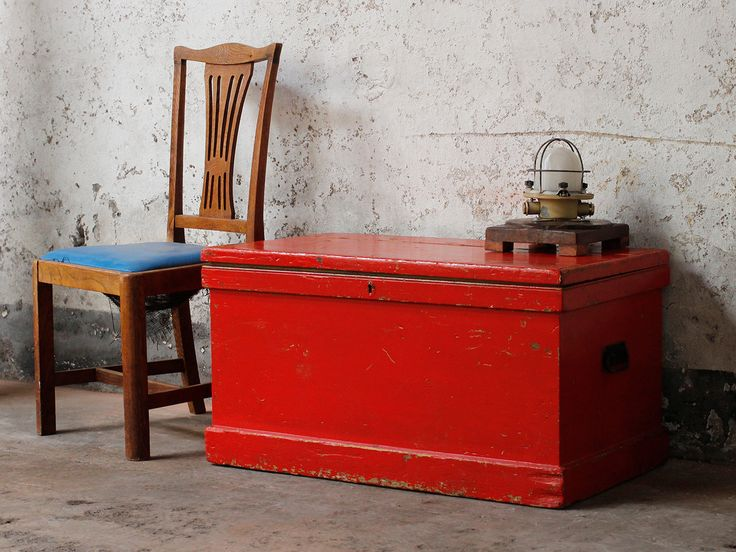 Red Chest from Scaramanga's vintage furniture and interior collection #vintage #storage #interior #homeinspo #inspiration #ideas #homedecorideas #chest #trunk #ottoman #toybox
