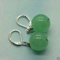 LiiJi Único 12mm Verde Jade Cuelga Los Pendientes