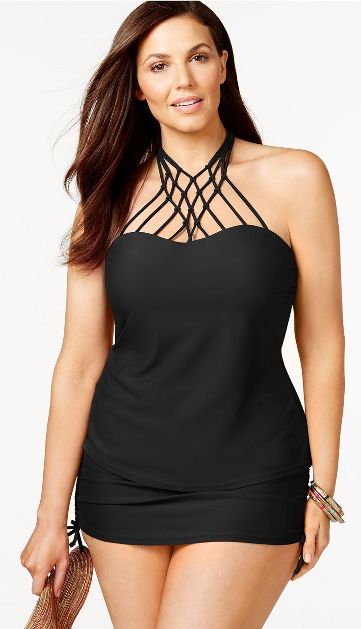 Plus Size Macrame Halter Tankini Swimsuit   Plus Size ...