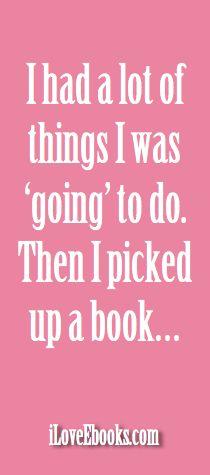 i had a lot of things i was going to do. Then i picked up a book...