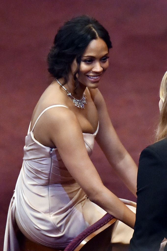 Actress Zoe Saldana in the audience prior to the start of the 87th Annual Academy Awards