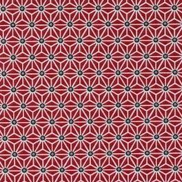 Tissu en coton à motifs géométriques blanc et noir sur fond rouge