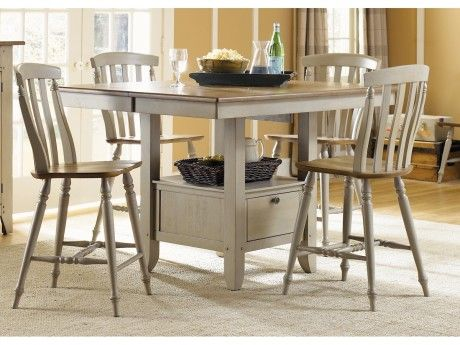 Liberty Furniture Al Fresco 5 Piece Gathering Dining Set In Driftwood Taupe By Rooms Outlet