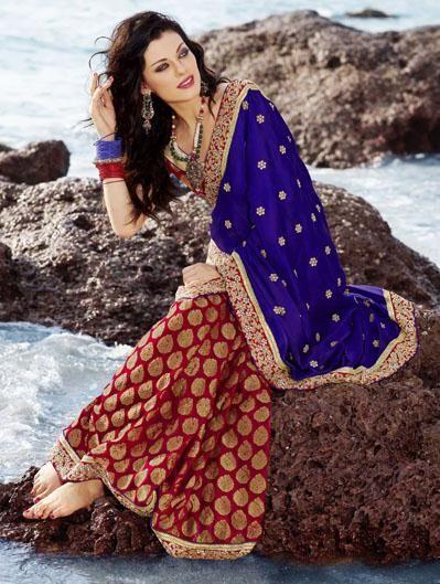 $73.98 Blue and Red Stone Work Brocade Wedding Saree 24645
