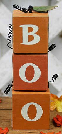 primitive wooden crafts | Primitive Wood Boo Halloween Block Set - Table and Shelf ...