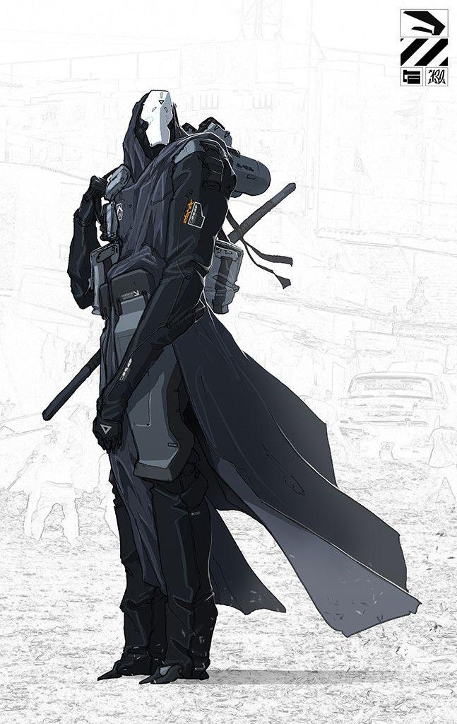 Hooded Cyborg., Nivanh Chanthara on ArtStation at https://www.artstation.com/artwork/hooded-cyborg-1