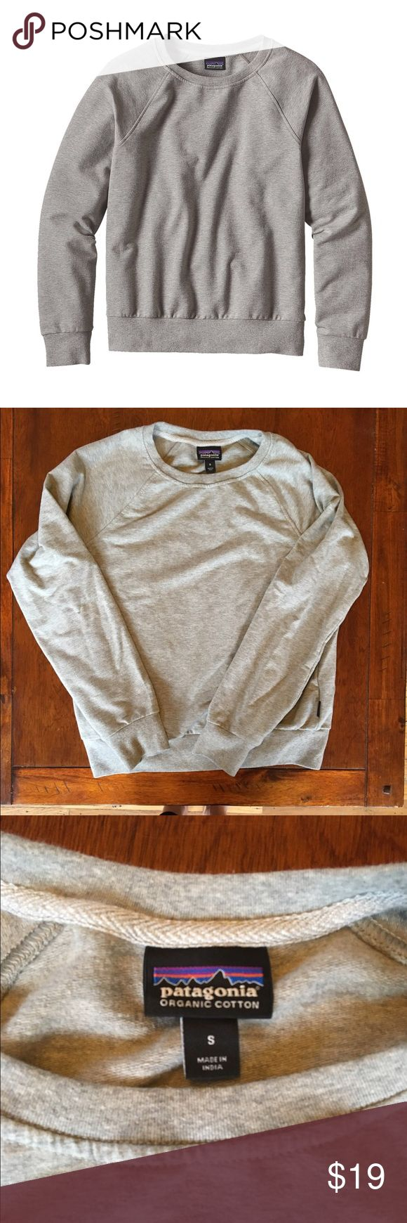 Patagonia Ahnya crew sweatshirt - grey - small Made with soft organic cotton and polyester fleece with a touch of spandex for movement. Crew neck with raglan sleeves and a classic fit. Waist length. Worn &I washed once, it's just a little too short on me (comes to my waist but I like my sweatshirts longer). Original price is $59 but it's on sale for $29 on the website so I'm listing at $19 since it's like new. Patagonia Tops Sweatshirts & Hoodies