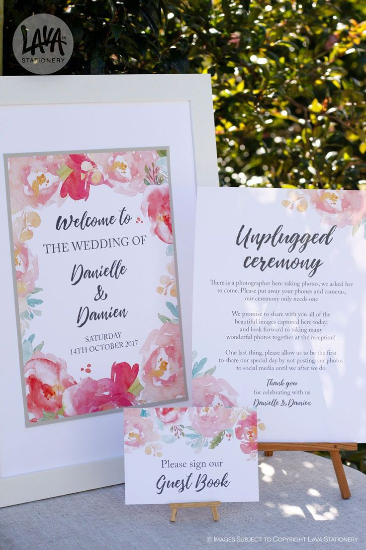 Loved making this reception stationery for Danielle & Damien 🌷  •••  #ReceptionStationery #WeddingReception #GuestBookSign #UnpluggedCeremony #WelcomeSign #FloralWedding #GardenWedding #PeonyLover #WatercolourPeonies
