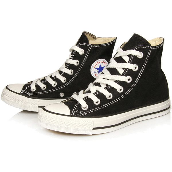 Converse Black Chuck Taylor All Star Hi Top Trainers found on Polyvore