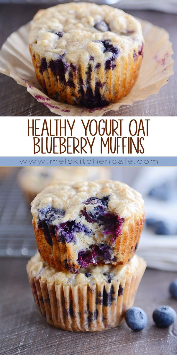 Healthy yogurt oat muffins (with blueberries or chunks of chocolate!)