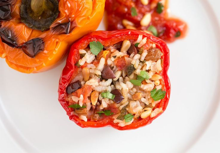 yemista greek stuffed peppers closeup