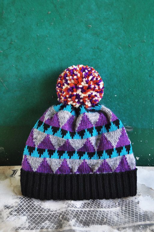 PomPom Beanie Hat  Magic Triangle by YuSquare on Etsy, NT$1590.00