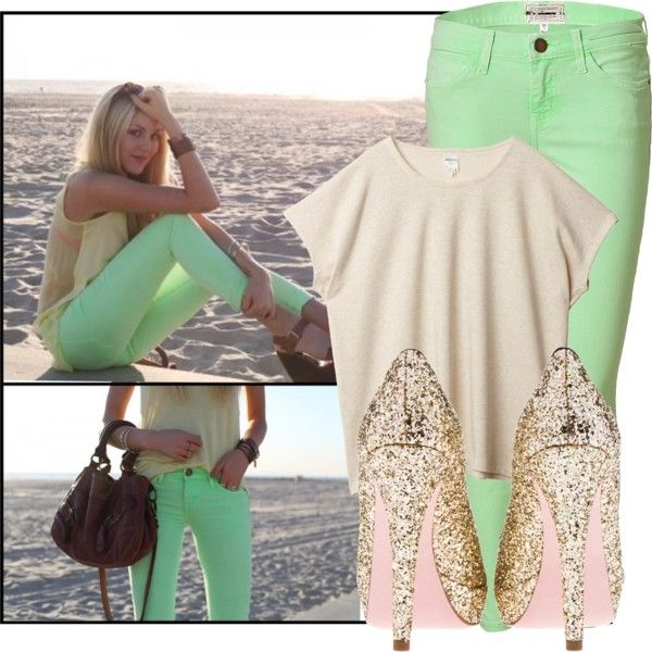 Mint green skinny jeans! Sparkly heels.