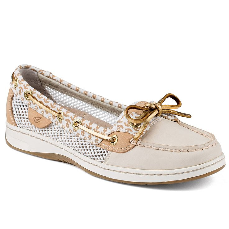 Sail the high seas of seasonal style in the Sperry Top-Sider® Women's Angelfish Ivory Anchors boat shoes. Make waves in a trendy premium leather and novelty upper for fun style. A padded tongue and fo