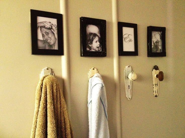 Vintage door knob towel hooks.