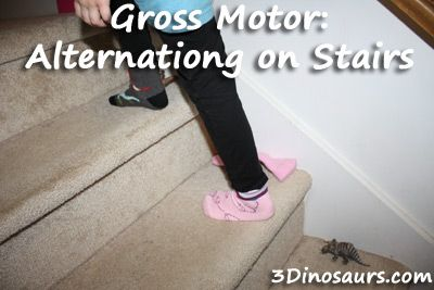 Gross Motor: Fun way to practice alternating on stairs. - 3Dinosaurs.com