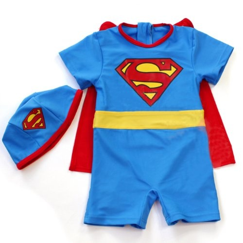 """$18.99-$30.95 Baby Boys' swimsuit for sale. Kids will be very cute when wearing our lovely swimsuits! This superman swimwear is also great for kid costume.Material: 80% nylon, 20% lycra spandexWashing Methods: Hand wash, cold hang dry. Do not use bleach.ATTN: Return is NOT allowed for swim suits.Please read the measurement information carefully.Size 4 ---- Length (from shoulder to hem): 19""""; Bus ..."""