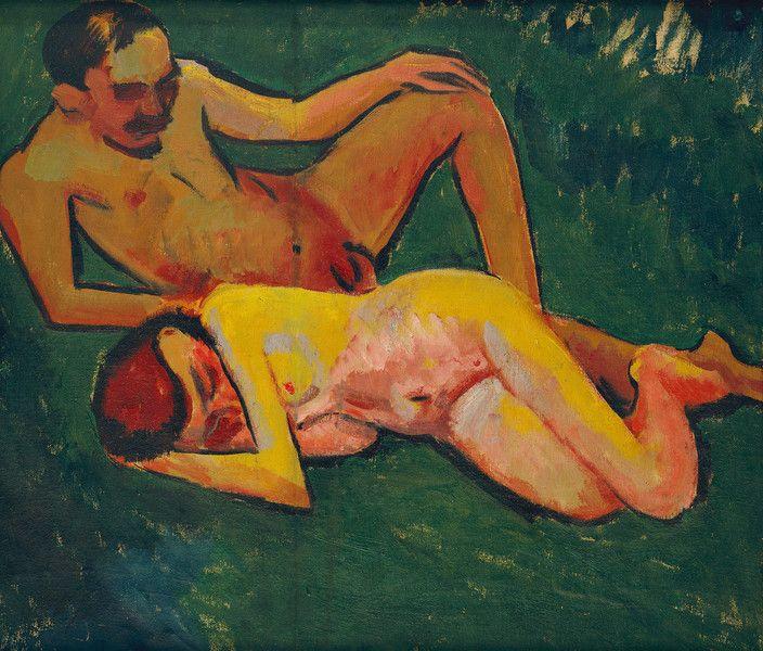 Max Pechstein, Liegendes Paar, 1909, Brücke-Museum Berlin, Foto Roman März © Pechstein Hamburg -Tökendorf