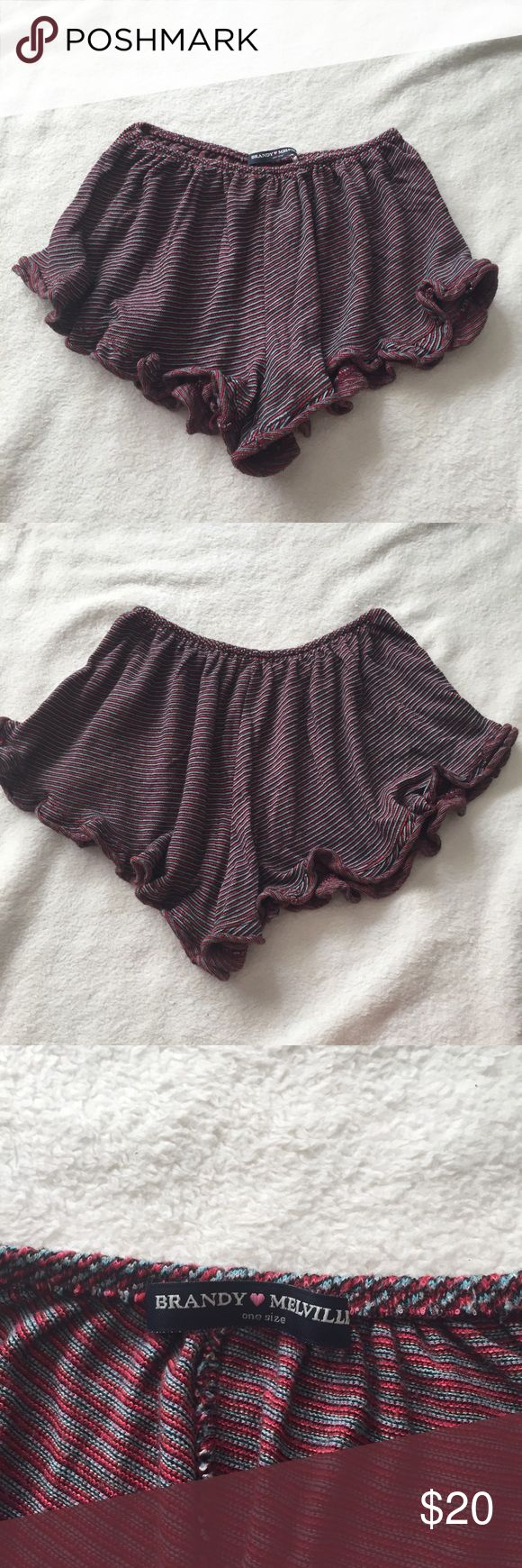 Brandy Melville Striped vodi shorts Maroon and grey striped vodi shorts from Brandy Melville. Perfect for everyday summer outfits! Very comfortable and in perfect condition. Only worn once when trying on. Brandy Melville Shorts