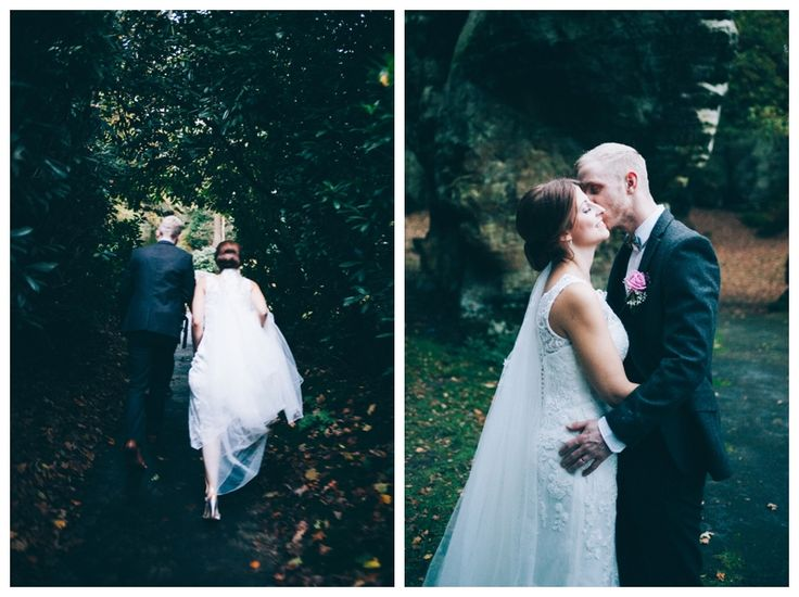Bride and groom run into the forest at High Rocks, kiss beneath the cliff www.ellen-richardson-weddings.com