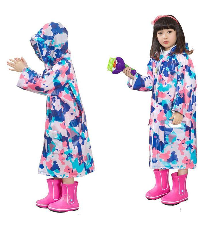 Happy Cherry Kinder Mädchen Regenmantel mit Kapuze Raum für Schulrucksack Leicht Wasserfest Atmungsaktiv Fashion - Rosa Camouflage Motiv: Amazon.de: Bekleidung