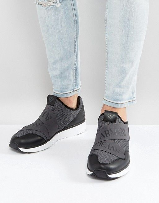 Armani Jeans Crossover Logo Knitted Sneakers in Gray