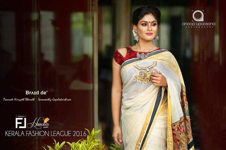 Brʌɪd de' Paarvati Kiriyath Bharath * Saraswathy Gopalakrishnan Kerala Cream and gold Bridal Kerala Sari - Rama Pattabhishekam /Tali Work on chest