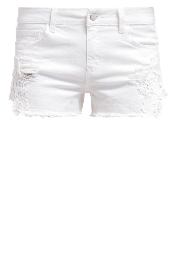 Vila VILULA Białe Szorty jeansowe optical snow
