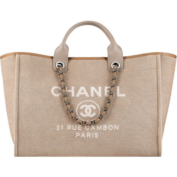Large tote featuring polyvore, fashion, bags, handbags, tote bags, chanel, beige tote, beige purse, summer handbags, summer purses and shopper handbags