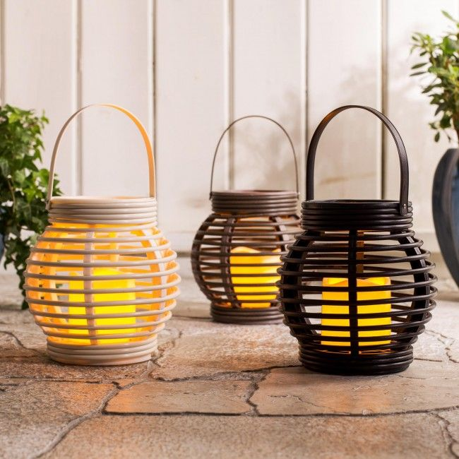 The look of lantern light without the flame. These traditional looking LED lanterns won't blow out in the wind, don't get hot and dangerous when you have kids or pets around but still create the pleasant flickering light of a candle for relaxing evening in the backyard or at the cottage.
