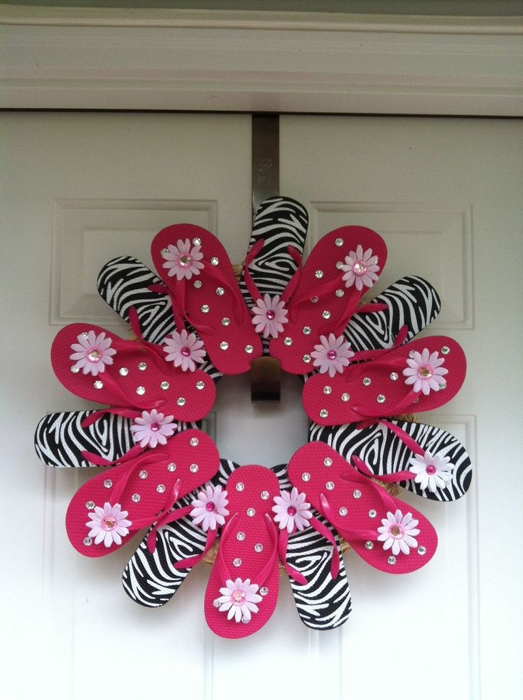 Zebra Print Flip Flop Wreath. $45.00, via Etsy.  Looks like an easy DIY