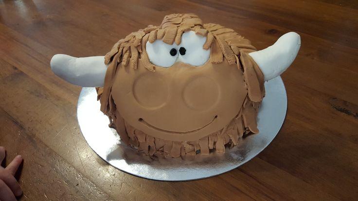 Homemade Highland cow cake