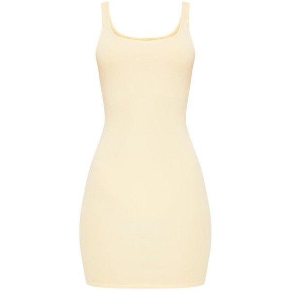 Carolin Lemon Scoop Neck Bodycon Dress ($8) ❤ liked on Polyvore featuring dresses, scoop neckline dress, beige bodycon dress, beige dress, lemon dress and scoop-neck dresses