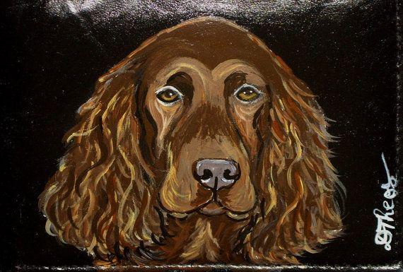 Field Spaniel Dog Custom Painted Leather by daniellesoriginals, $18.95