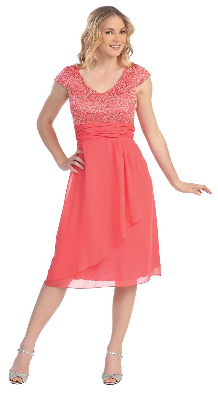 Knee Length Coral Lace/Chiffon Dress Short Bridesmaid Cap Sleeves