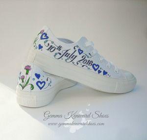 hand painted brides trainers.JPG #paintedvans #custom #vans #customised #personalisedvans #weddingvans #wedding #weddingshoes #shoes #thistles