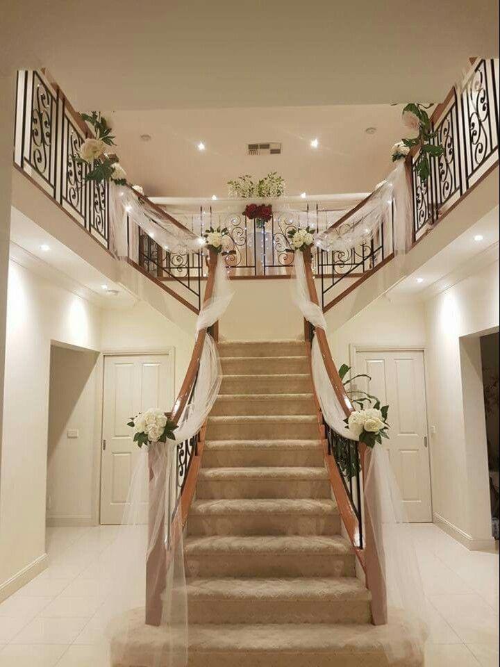 Wedding preparation. Staircase decor