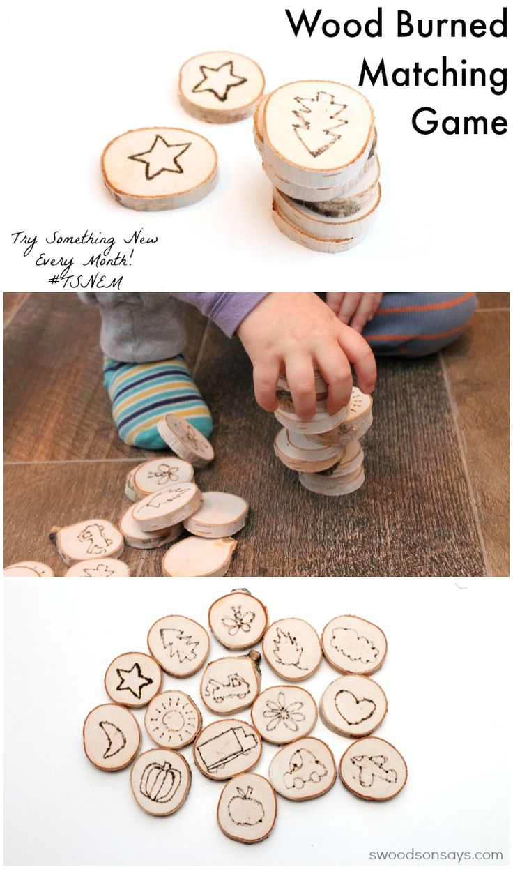 A wood burned matching game for toddlers!