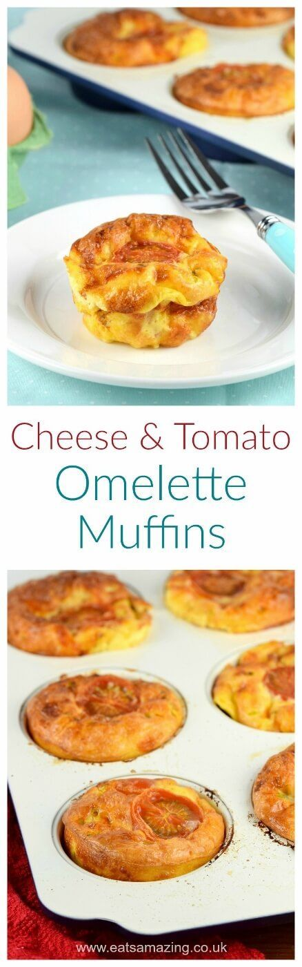 Easy cheese and tomtato omelette muffins with child friendly recipe sheet - perfect for breakfast healthy snacks or packing in lunch boxes - Eats Amazing