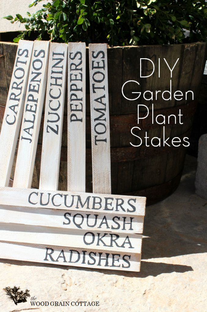 DIY:  Garden Plant Stakes Tutorial - using $3  wooden stakes from the home improvement store. Very easy DIY.