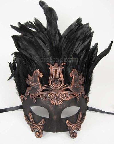 Roman Warrior Greek Venetian Half Face Mask Masquerade Black Mens Bronze Costume | eBay
